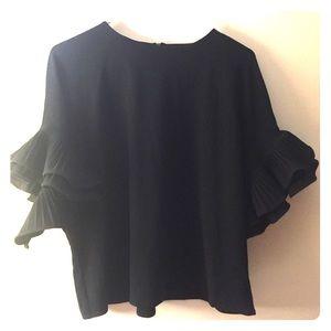 Forever 21 Black Frill-Sleeved Blouse